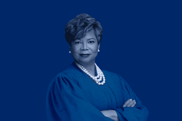 Photo of Recorders Court Chief Judge Tammy Stokes, candidate for Superior Court Judge. Blue Overlay.