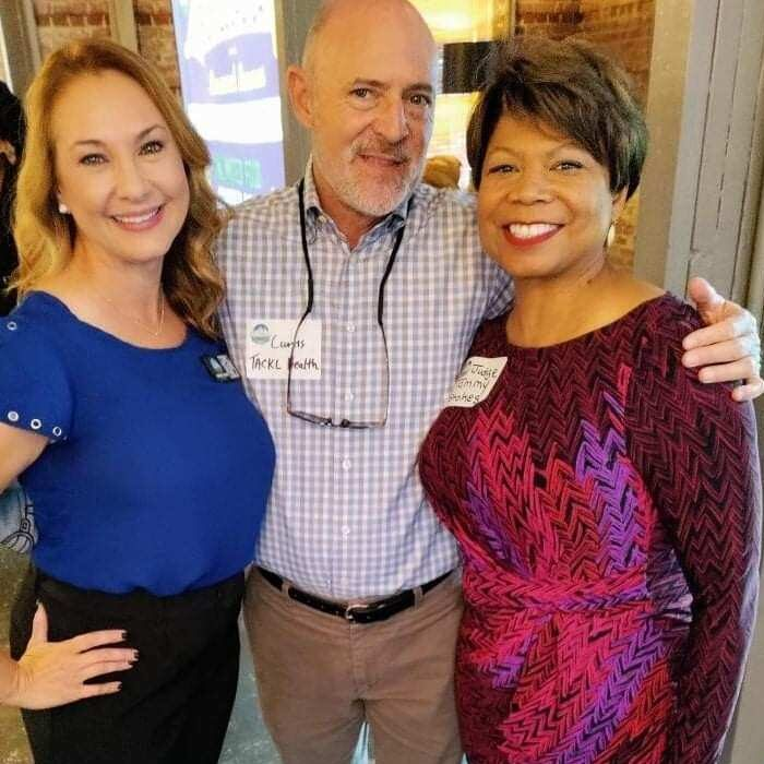 Judge Tammy Stokes, candidate for Superior Court Judge standing with 2 supporters at the Buy Local Savannah Luncheon on June 24th, 2021