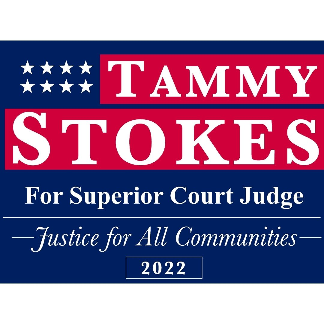 Judge Tammy Stokes candidate for Superior Court Judge blue logo. Squared at 1080 by 1080 pixels.
